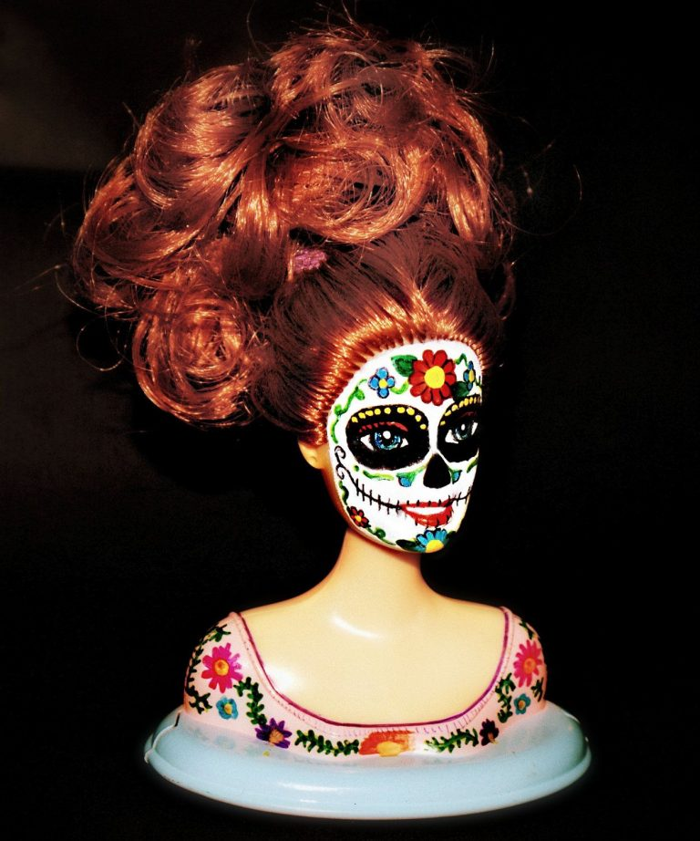 Barbie dresses up as a candy skull to celebrate the day of the dead