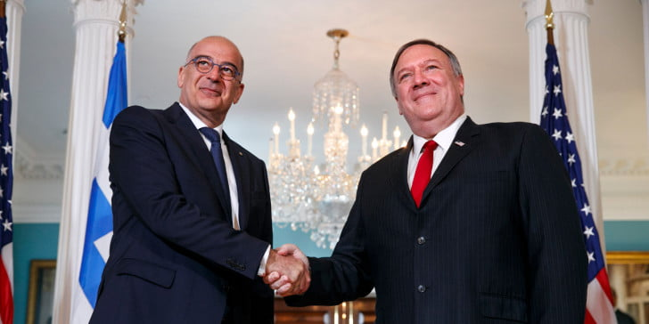 """Pompeo reaffirms the US commitment to a """"peaceful settlement"""" of disputes between Greece and Turkey"""