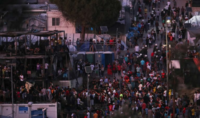 The Greek police arrested five refugees over the fire in the Moria camp