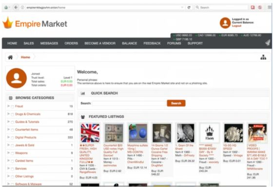 The sixth largest cryptocurrency service in Eastern Europe is a marketplace on the Darknet