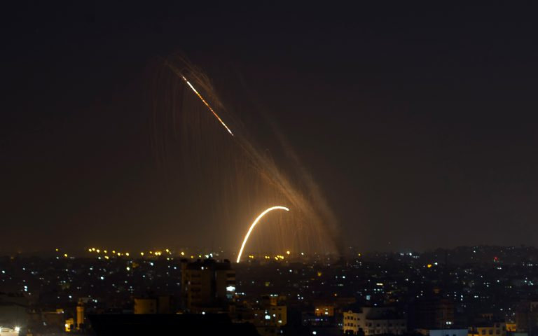 Israel's air defense systems intercept a projectile fired from Gaza