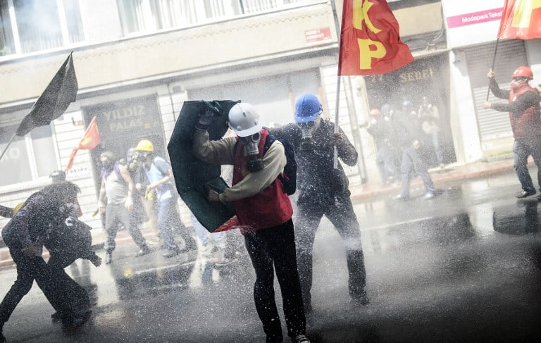 Riots and clashes between police and protesters during a protest against labor reform in Indonesia