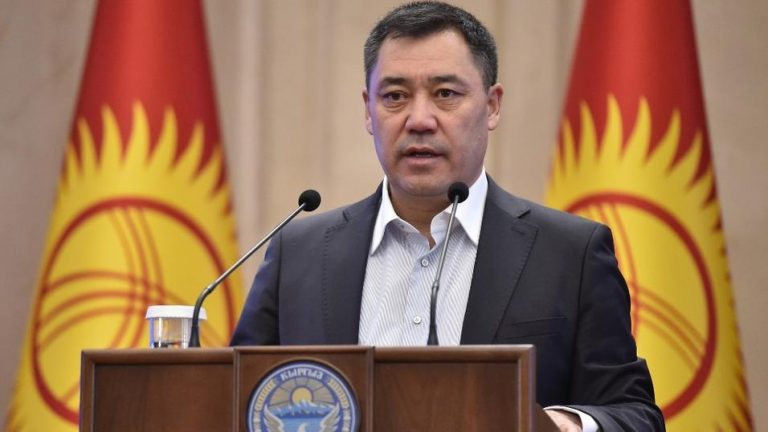 The interim president of Kyrgyzstan announces that he will step down to run for the presidential election