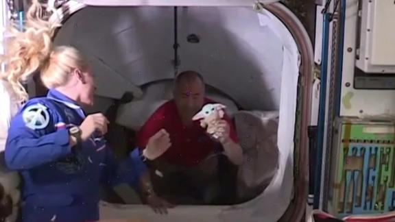 Baby Yoda travels into space with the crew of SpaceX's Crew Dragon