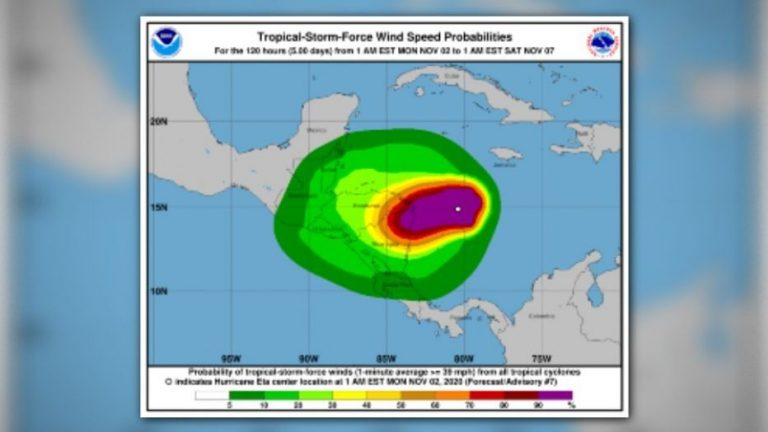 'Eta' gains strength in the Gulf of Mexico and wins back the hurricane category