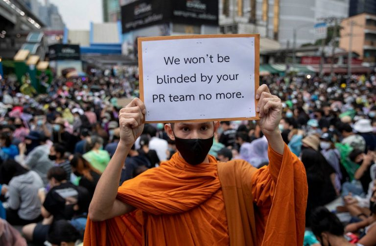 Thai Buddhist monks were not allowed to participate in anti-government demonstrations
