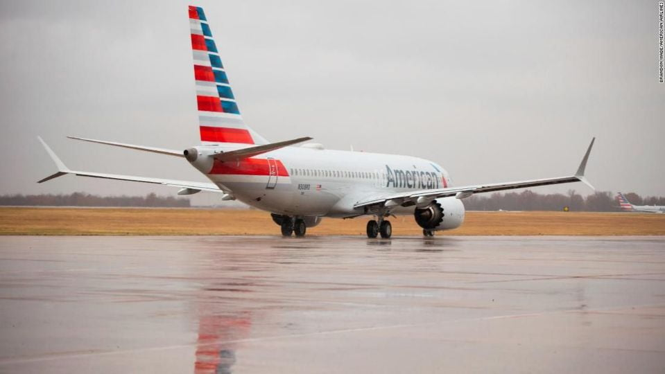 American Airlines conducts the first public test flight of the Boeing 737 Max after those aircraft were banned