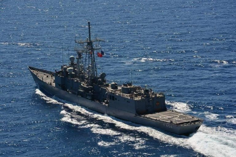 The Turkish Navy is conducting target practice in the eastern Mediterranean in the midst of the dispute with Greece