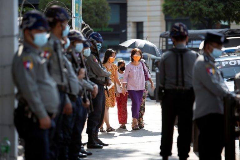 The Burmese junta declared martial law on the third day of mass mobilization
